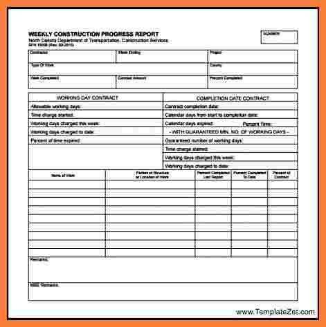 7+ weekly construction progress report template | Progress Report