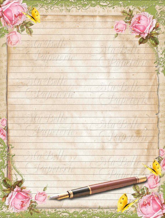 Vintage Style Shabbby Chic Lined Letter Writing Paper with
