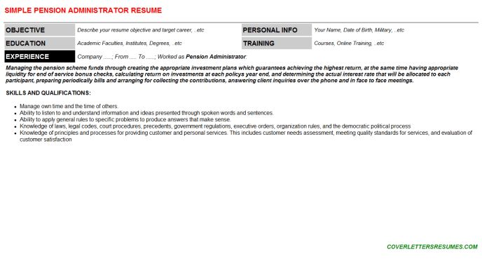 Download Pensions Administration Sample Resume ...