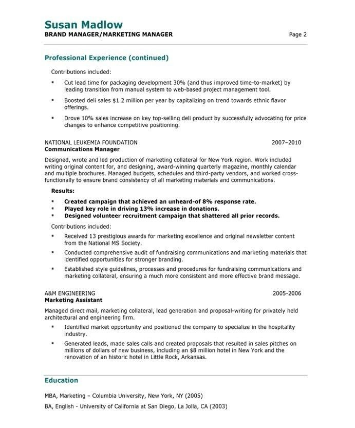 Marketing Manager Resume Sample | jennywashere.com