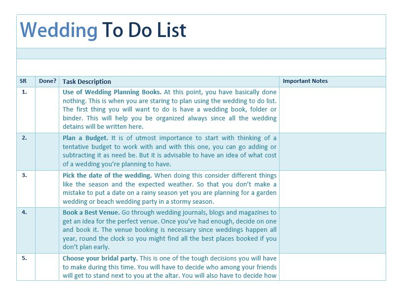 Wedding To Do List Template | Sample Format