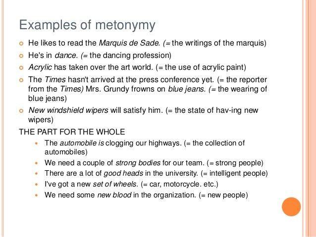 METONYMY EXAMPLES - alisen berde