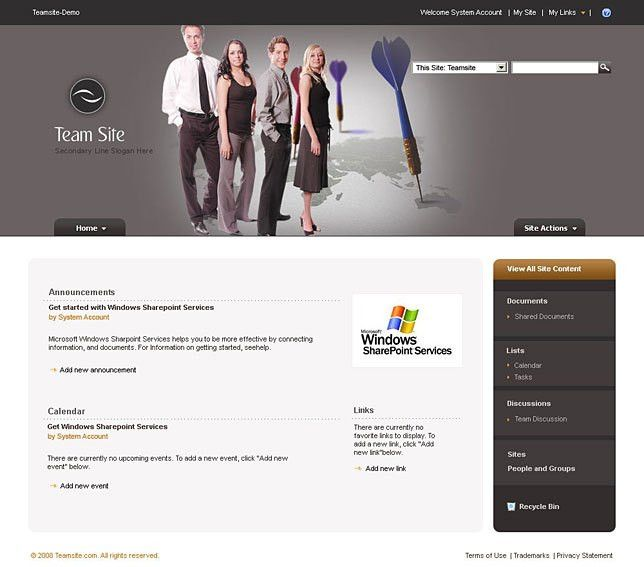 Sharepoint themes 2010 for team builders