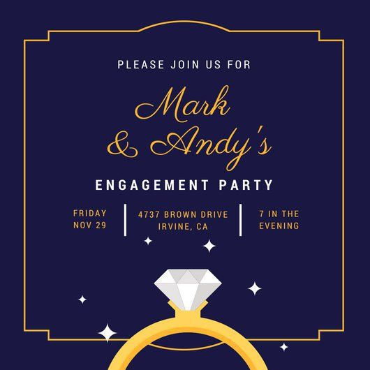 Dark Blue and Yellow Ring Illustration Engagement Party Invitation ...