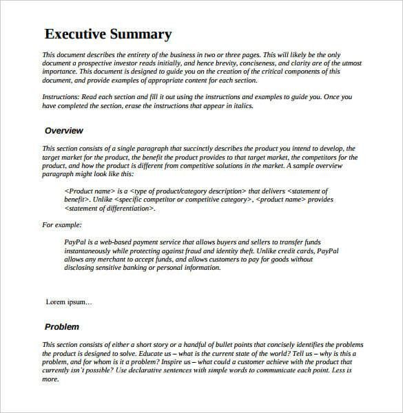 Management And Executive Summary Examples | Printable Calendar ...