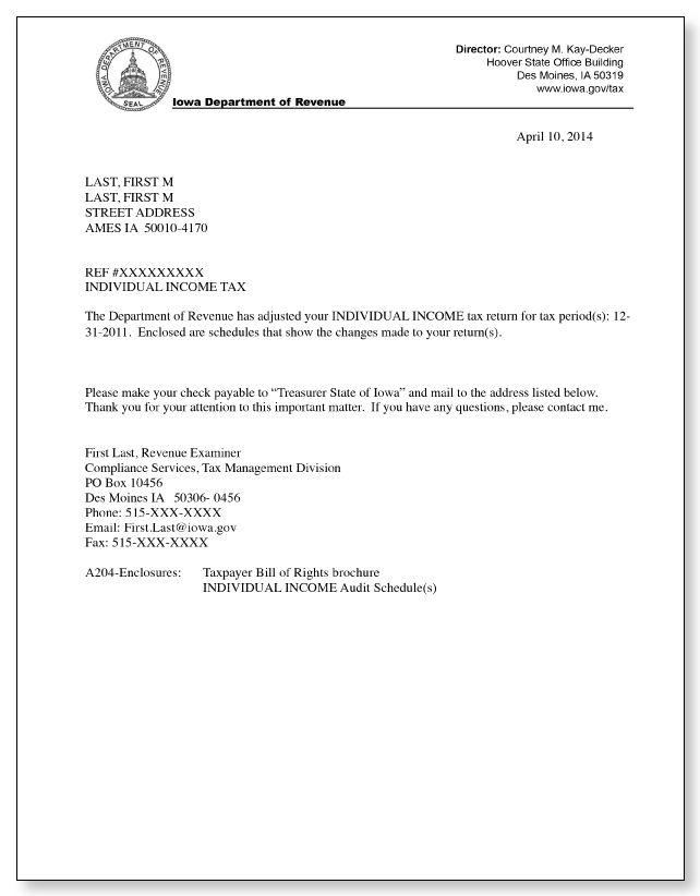 Iowa Department of Revenue A204 Letter