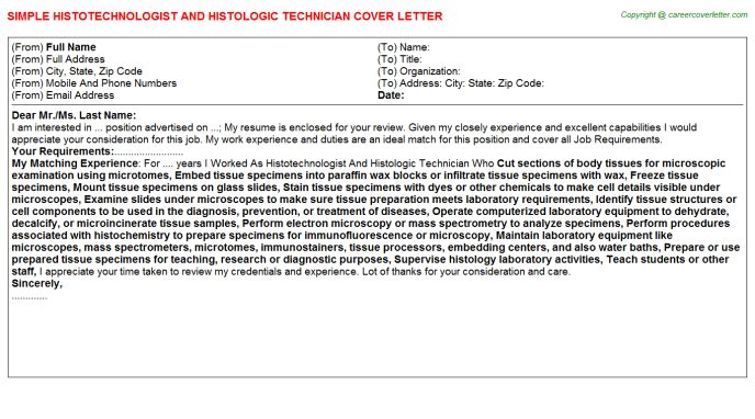 Histotechnologist And Histologic Technician Cover Letter