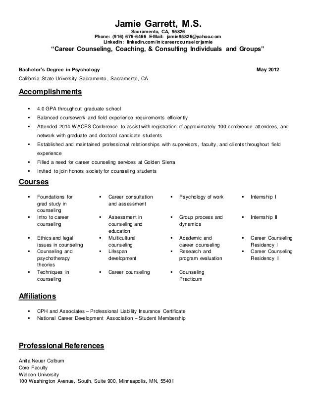 Career Counseling Resume