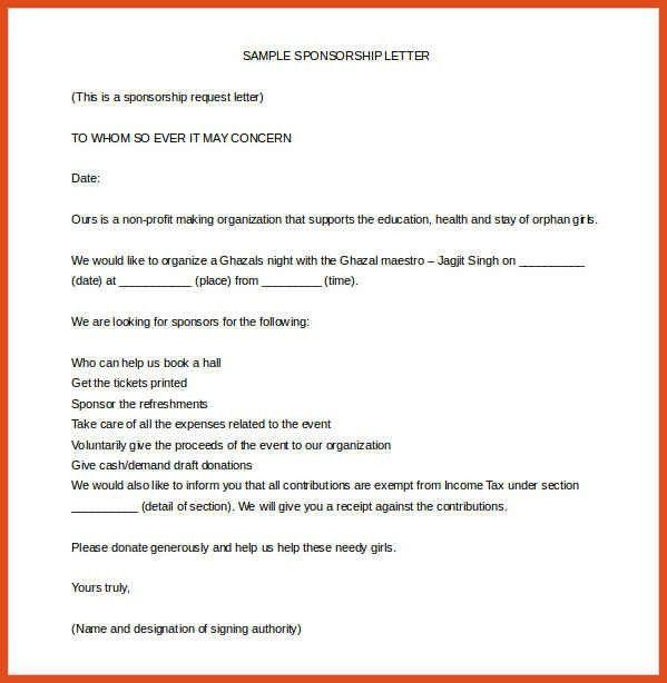 sample sponsorship letter | moa format