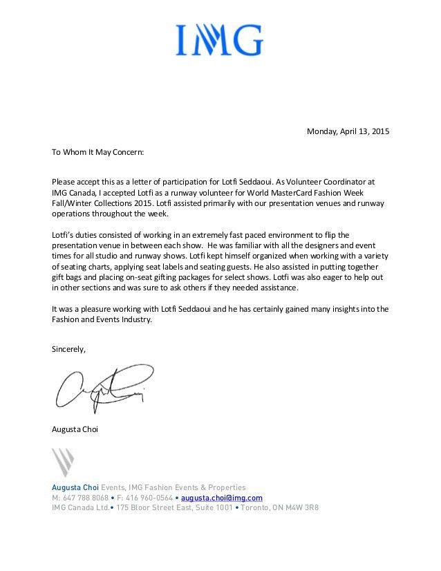 participation letter Fashion Week