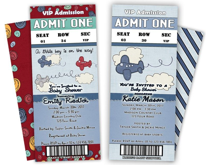 Airplane Baby Shower Ticket Invitations — Party Print Express
