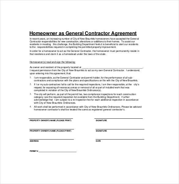 sample contractor contract
