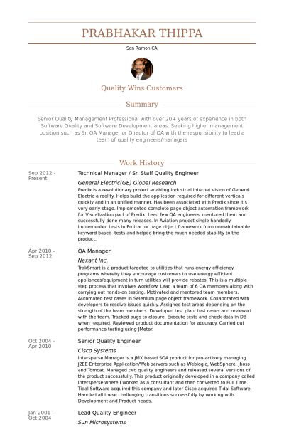 Quality Engineer Resume samples - VisualCV resume samples database