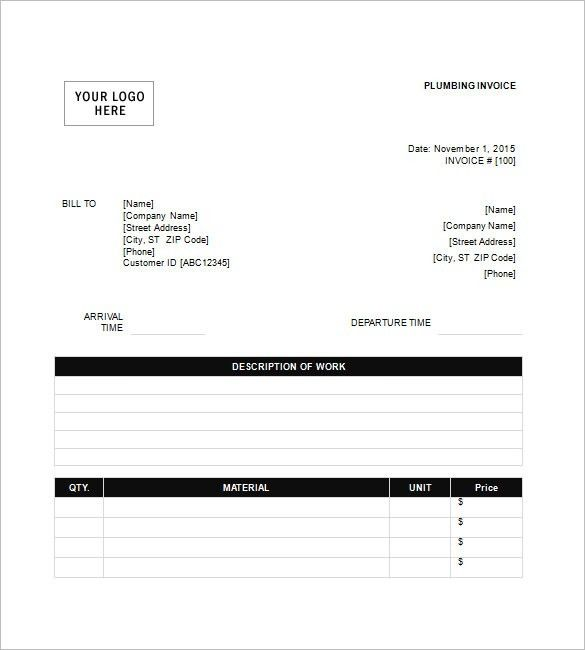 Plumbing Invoice Template – 8+ Free Sample, Example, Format ...