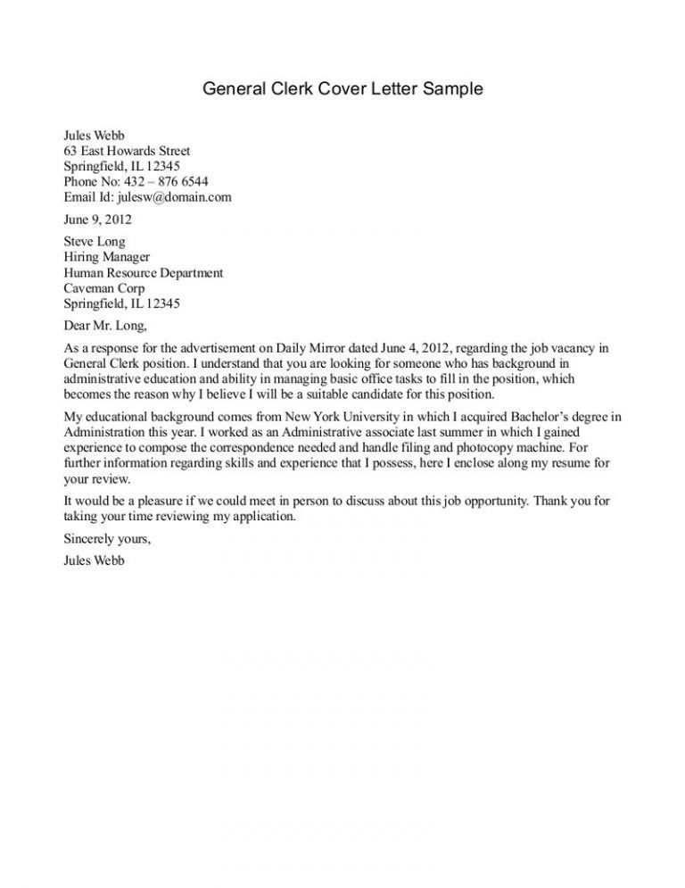 Amazing Idea General Cover Letter For Resume 4 Example General ...