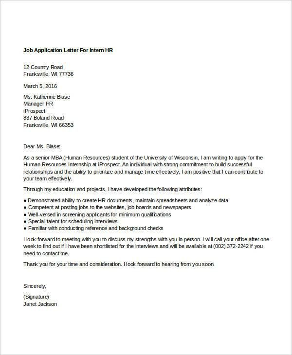 10+ Sample HR Job Application Letters - Free Sample, Example ...