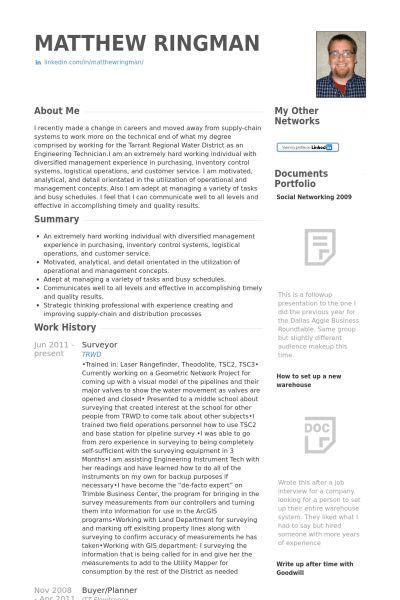 Surveyor CV Örneği - VisualCV Özgeçmiş Örnekleri Veritabanı