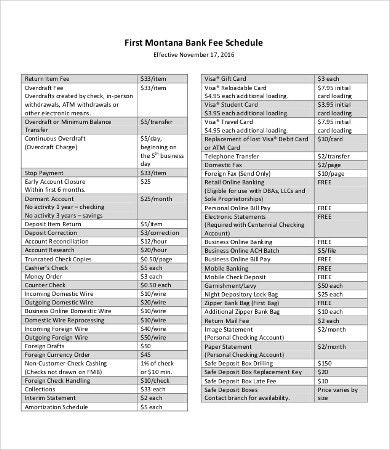 Fee Schedule Templates - 8+Free Word, PDF Documents Download ...