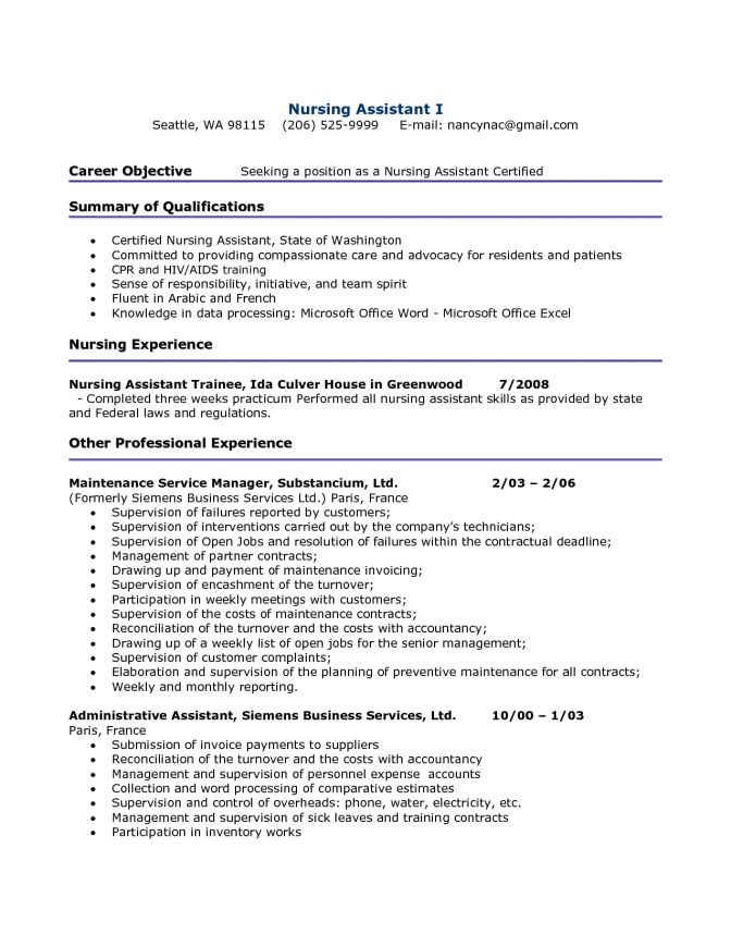 Cna Resume Objective - CV Resume Ideas