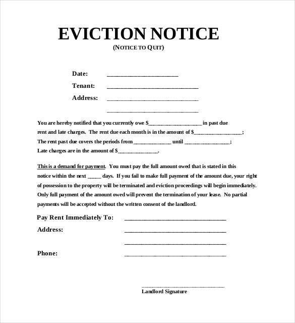 Eviction Notice Template Free Eviction Notice Template  Free Word