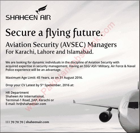 Aviation Security Manager Jobs in Shaheen Airline 2016 August ...