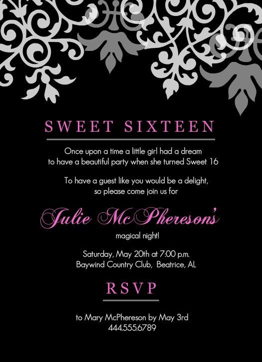 Sweet 16th Birthday Invitations Templates Free Printable | Drevio ...