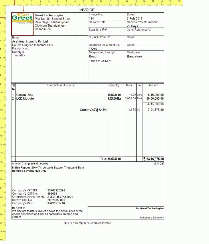 Download Tally Invoice Template Free Download | rabitah.net