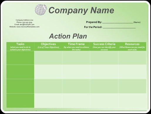 3+ Action Plan Templates | Excel & Word Templates