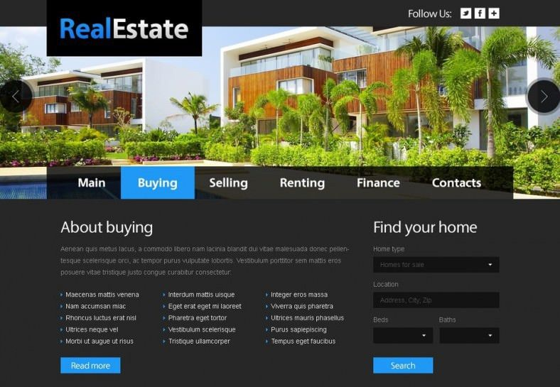 11 Real Estate Website Templates & Themes | Free & Premium | Free ...