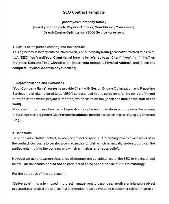 5+ SEO Contract Templates – Free Word, PDF Format Download!   Free ...