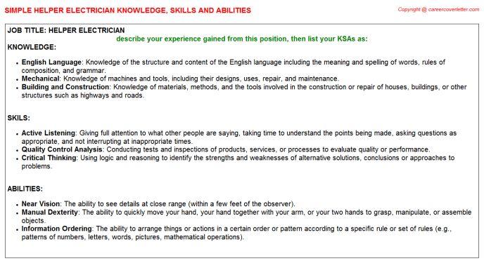 Helper Electrician Knowledge & Skills
