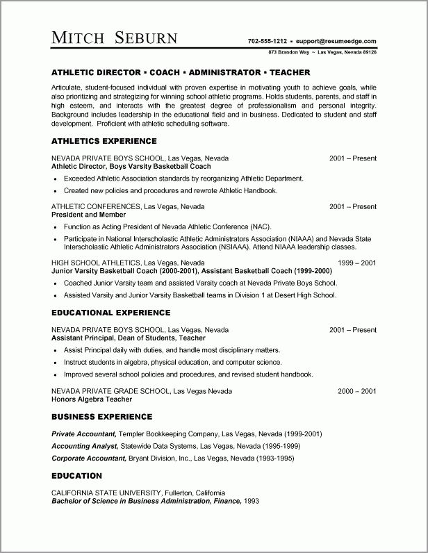 A Resume Example in the Combination Resume Format