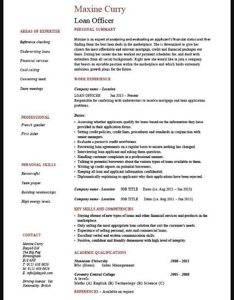 Free example of loan processor resume