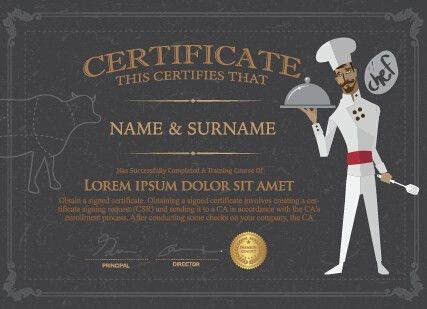 Chef certificate template vector - Vector Cover free download