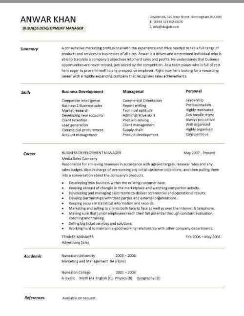 Business Development Manager CV summary skills career - Writing ...
