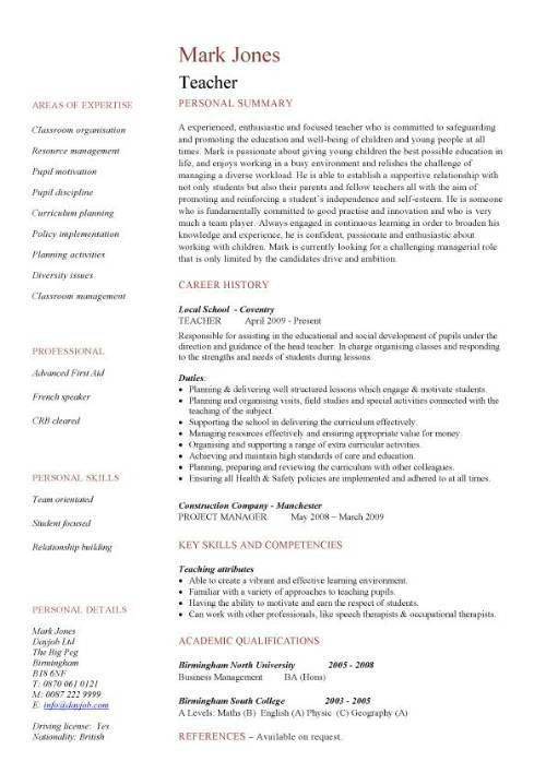 teacher cv template lessons pupils teaching job school coursework. Resume Example. Resume CV Cover Letter