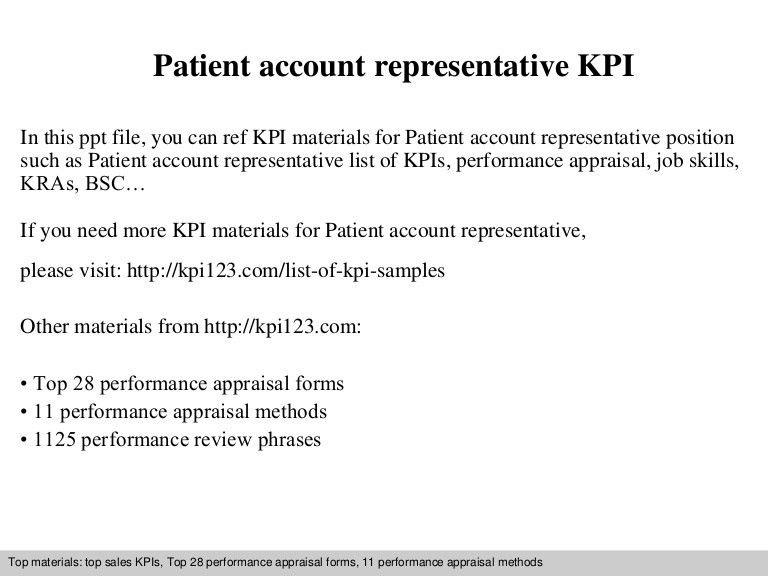 Patient account representative kpi