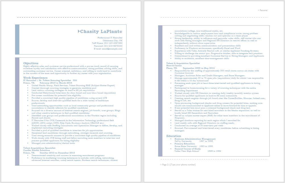 Bilingual Recruiter Resume - Resume Templates