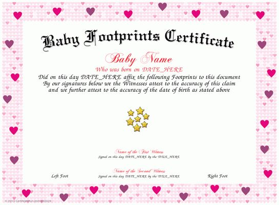 birth certificate template with footprints - Google Search ...