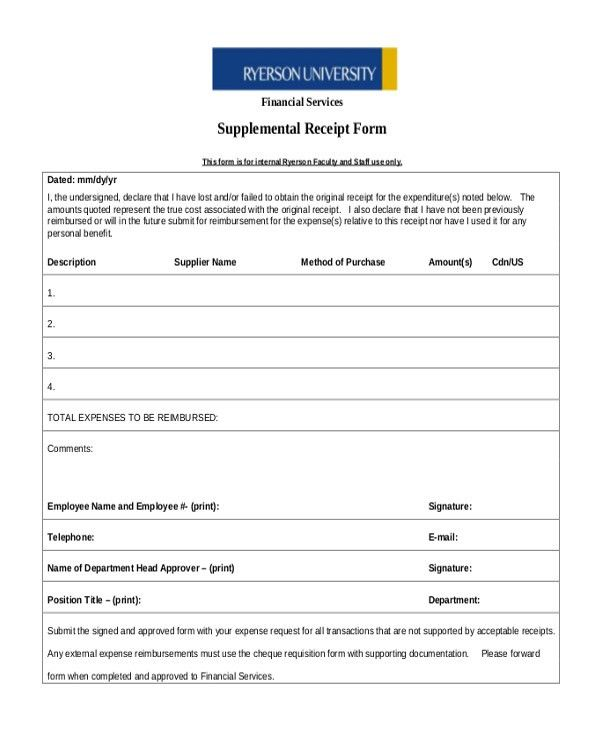 Sample Missing Receipt Form - 10+ Free Documents in Word, Excel, PDF