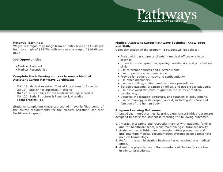 Medical Assistant Career Pathways Certificate Program