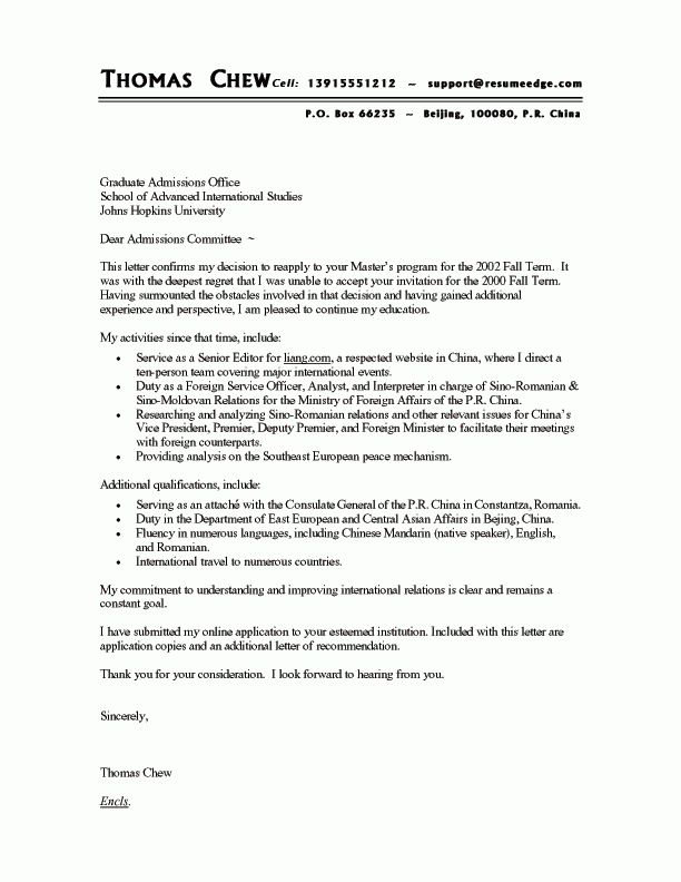 to Graduate School Cover Letter