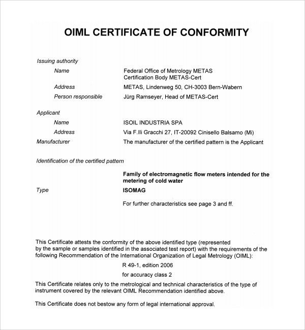 Sample Conformity Certificate Template - 8+ Free Documents in PDF ...