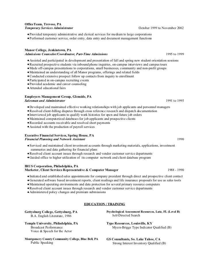 higher education resume samples top 8 educational consultant