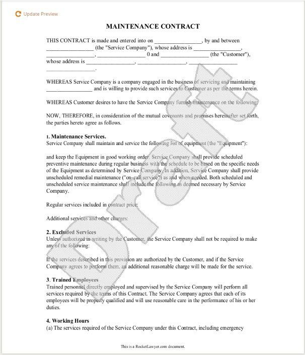 5 free maintenance contracts samples and templates small