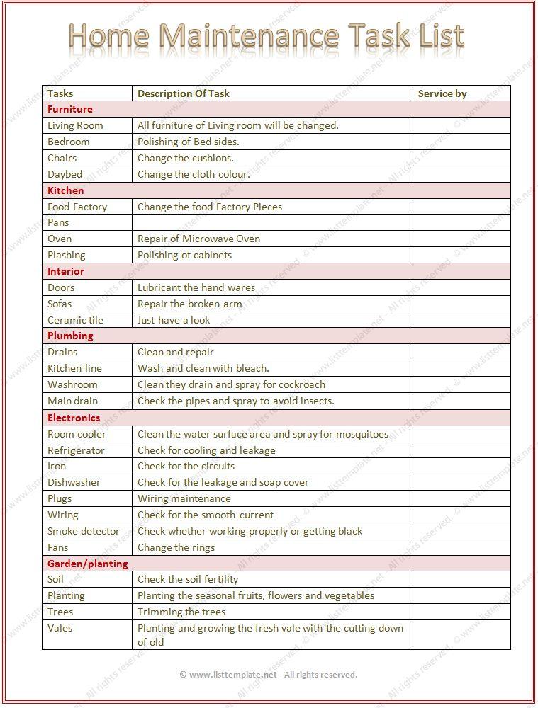 Home Maintenance Task List Template (Word)