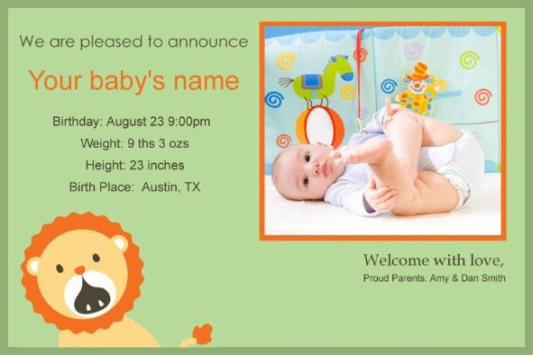 Free photo templates - Baby Birth Announcement 2