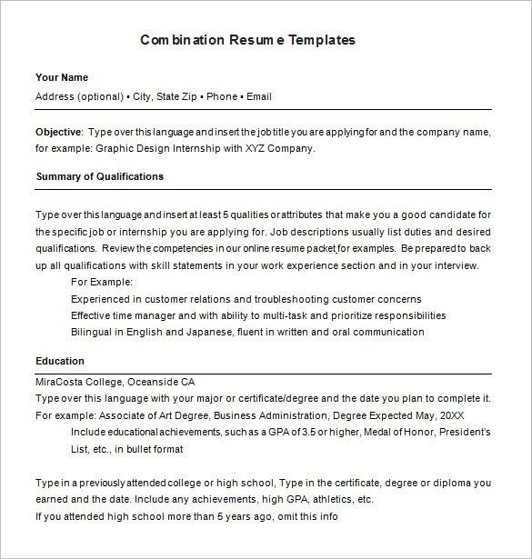 Combination Resume Template 6 Free Samples Examples Format Free ...