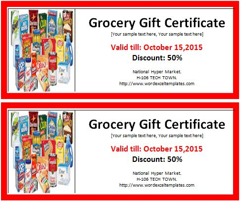 MS Word Grocery Gift Certificate Template | Word & Excel Templates