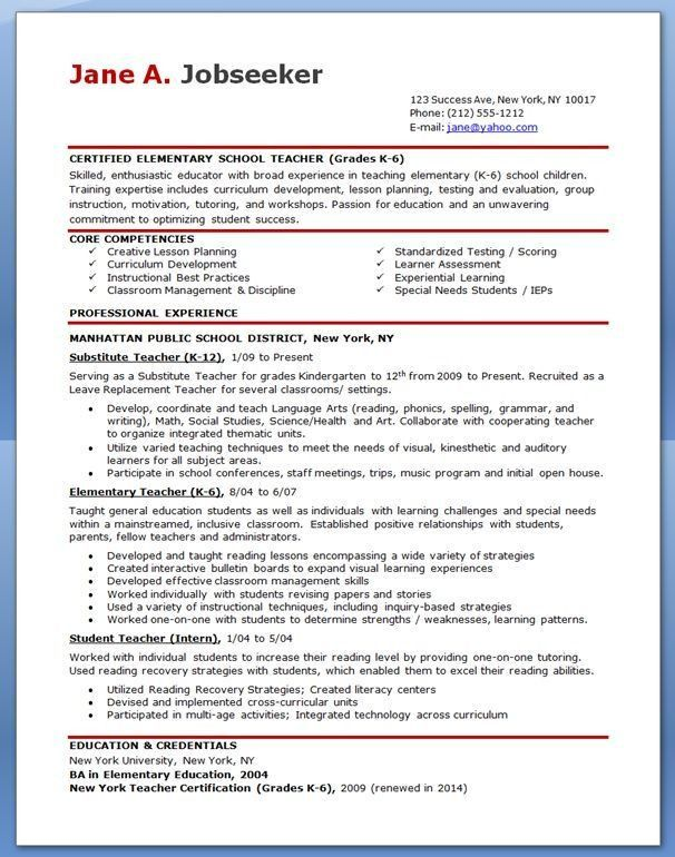 Examples Of Teachers Resumes. Resume Template For Teachers Resume ...